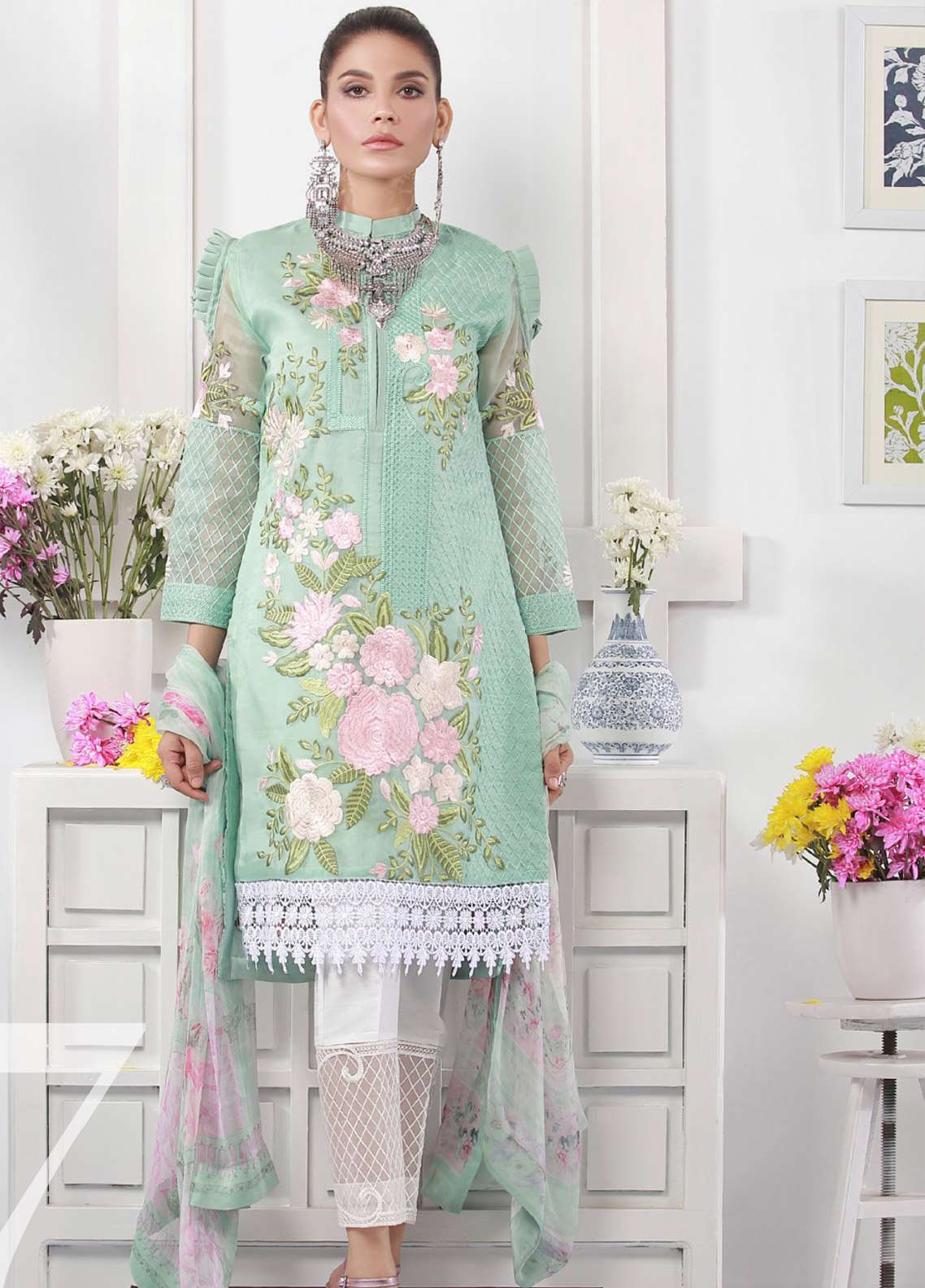 f1a952b6f2 Azure Embroidered Organza Unstitched 3 Piece Suit AZU19E 07 VISIONARY  PASSION - Eid Collection