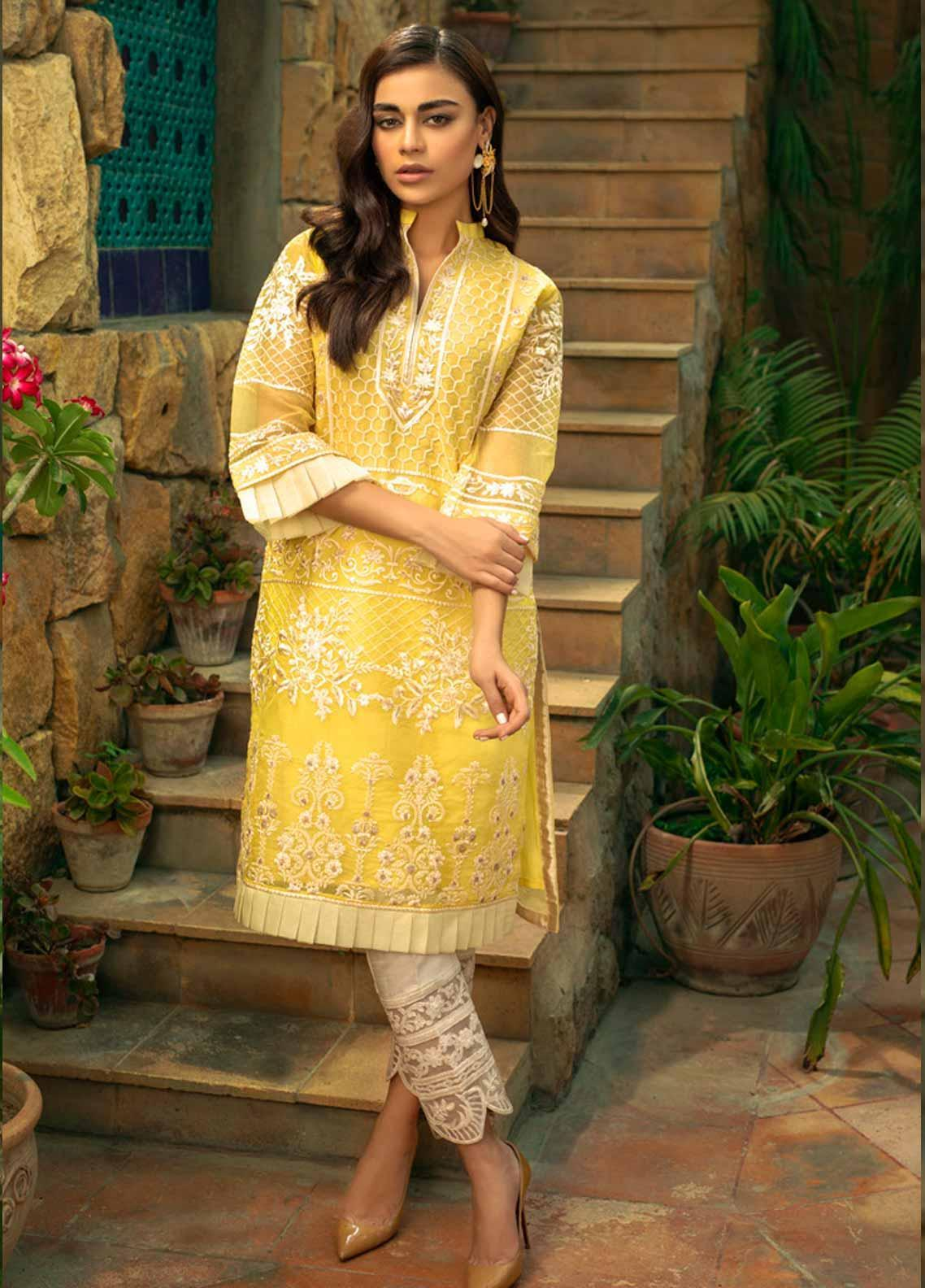 Azure Embroidered Organza Unstitched Kurties AZU19-E4 05 LUMINIOUS SUN - Luxury Collection