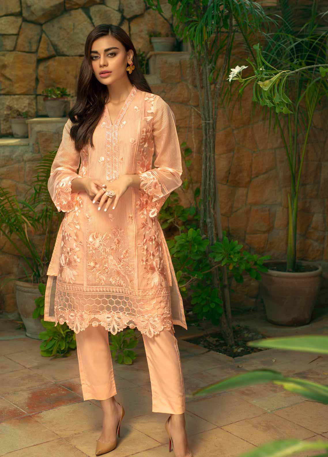Azure Embroidered Organza Unstitched Kurties AZU19-E4 06 IMPERIAL GLOW - Luxury Collection