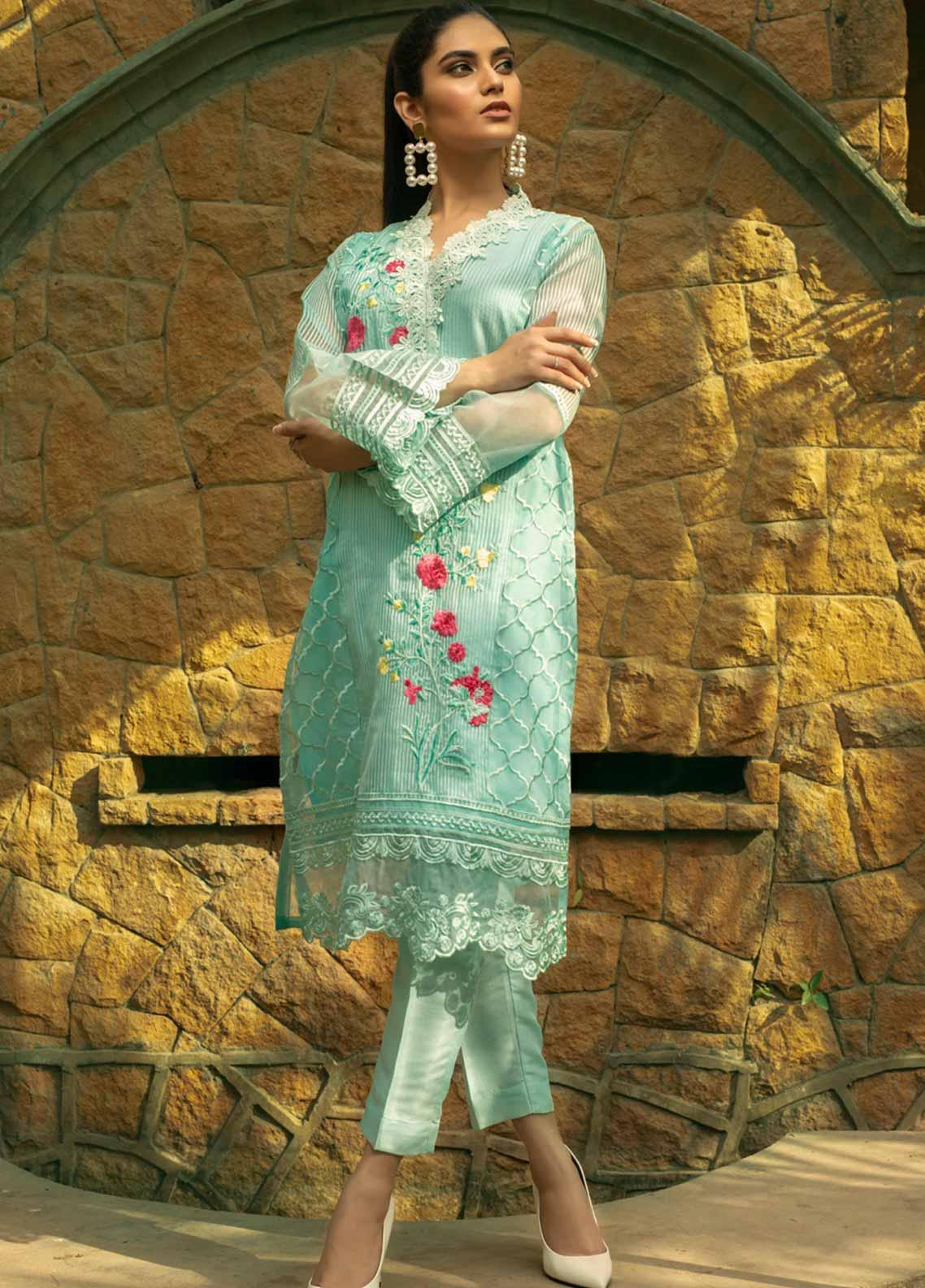 Azure Embroidered Organza Unstitched Kurties AZU19-E4 09 ELEMENTAL DEW - Luxury Collection