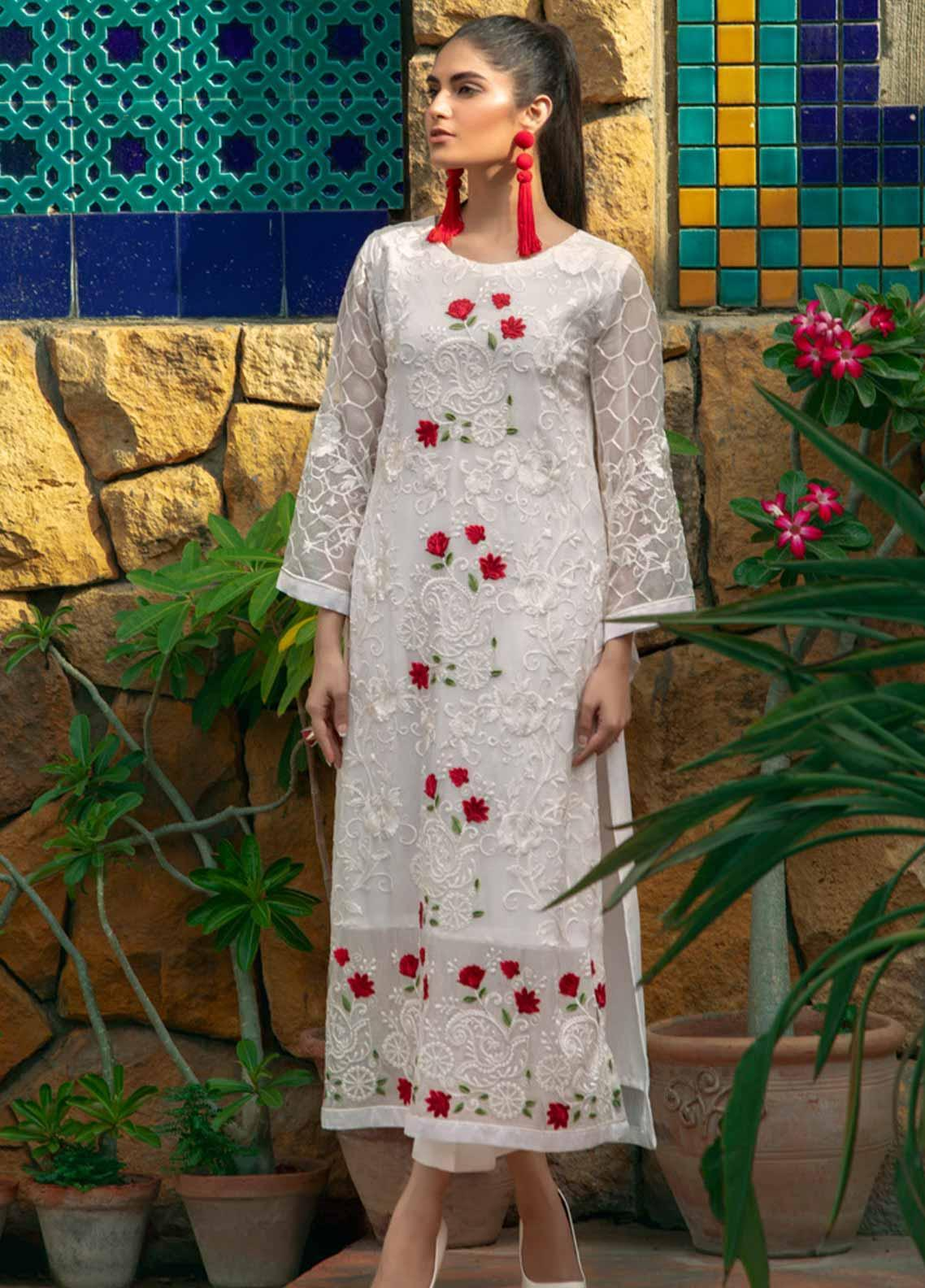 Azure Embroidered Chiffon Unstitched Kurties AZU19-E4 10 SPLENDED ROSE - Luxury Collection