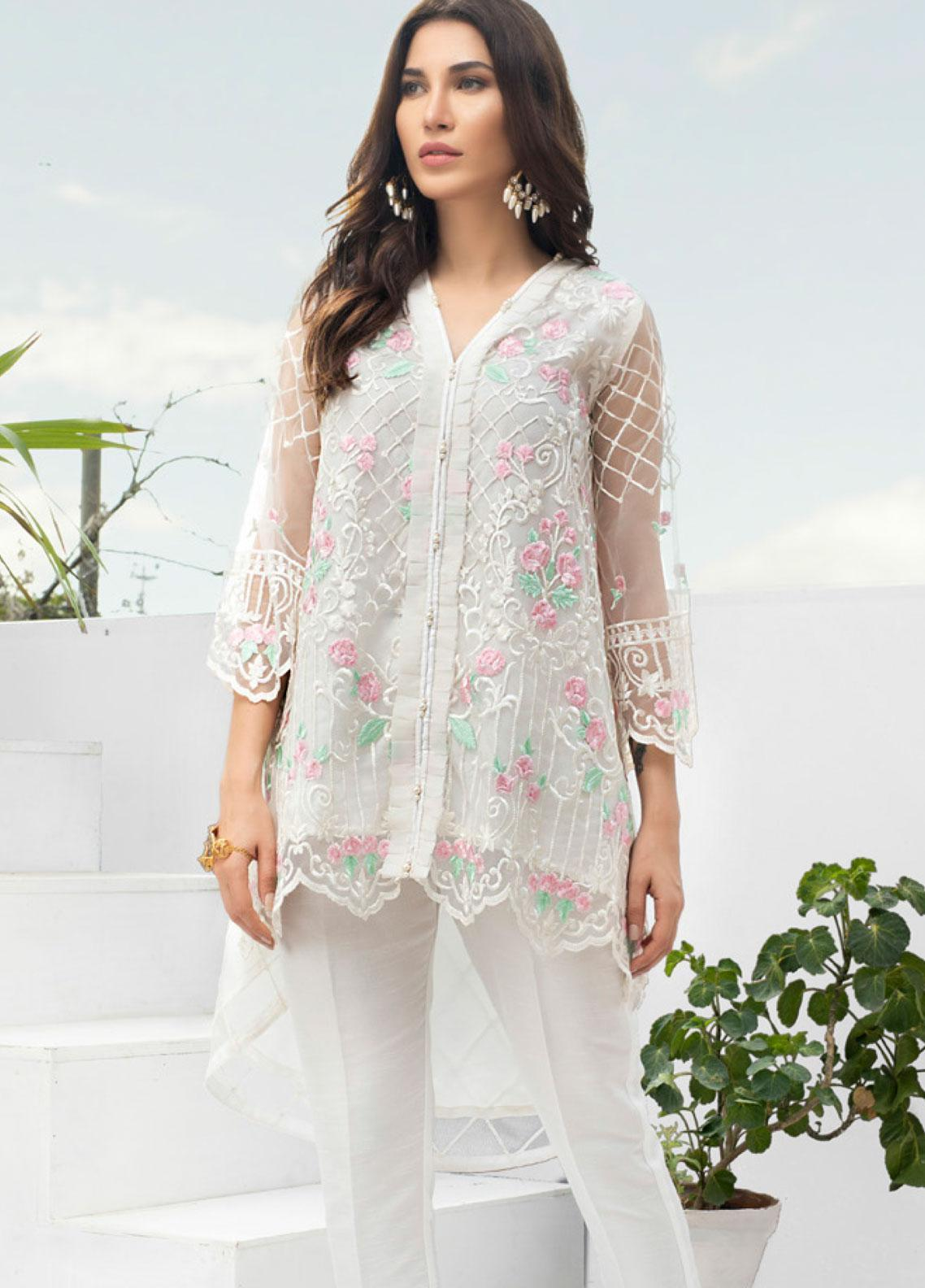 Azure Embroidered Zari Net Unstitched Kurties AZU19-E3 01 SNOWFLAKE SWIRLS - Luxury Formal Collection