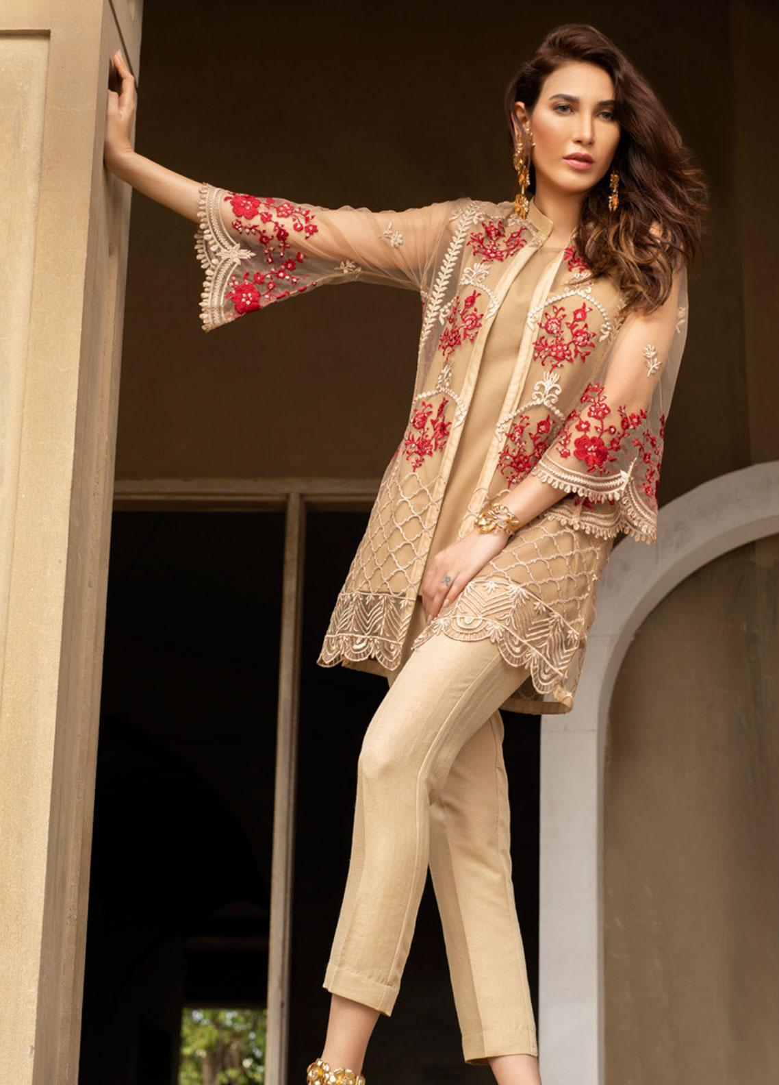Azure Embroidered Zari Net Unstitched Kurties AZU19-E3 02 ETHEREAL ROSE - Luxury Formal Collection