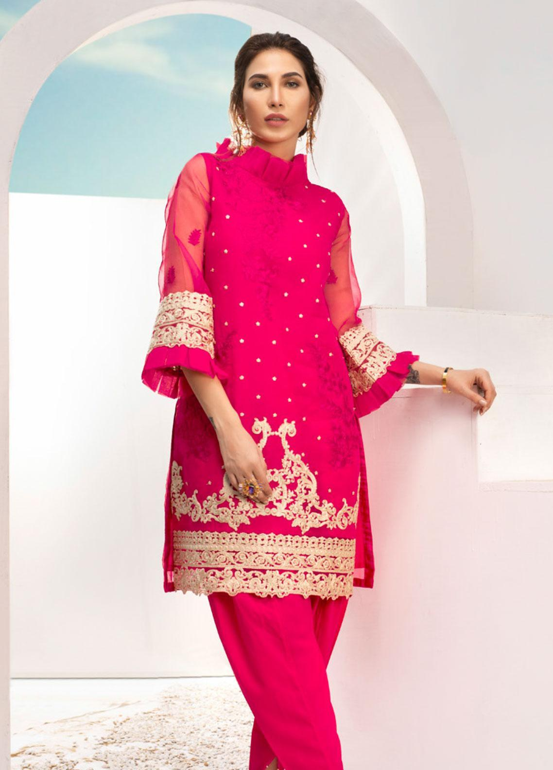 Azure Embroidered Organza Unstitched Kurties AZU19-E3 03 FUSHIA BLING - Luxury Formal Collection
