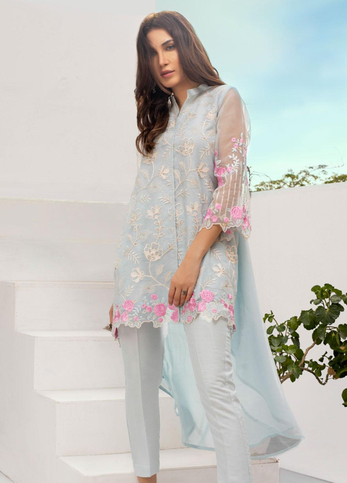 Azure Embroidered Organza Unstitched Kurties AZU19-E3 04 WHIMSICAL HUES - Luxury Formal Collection