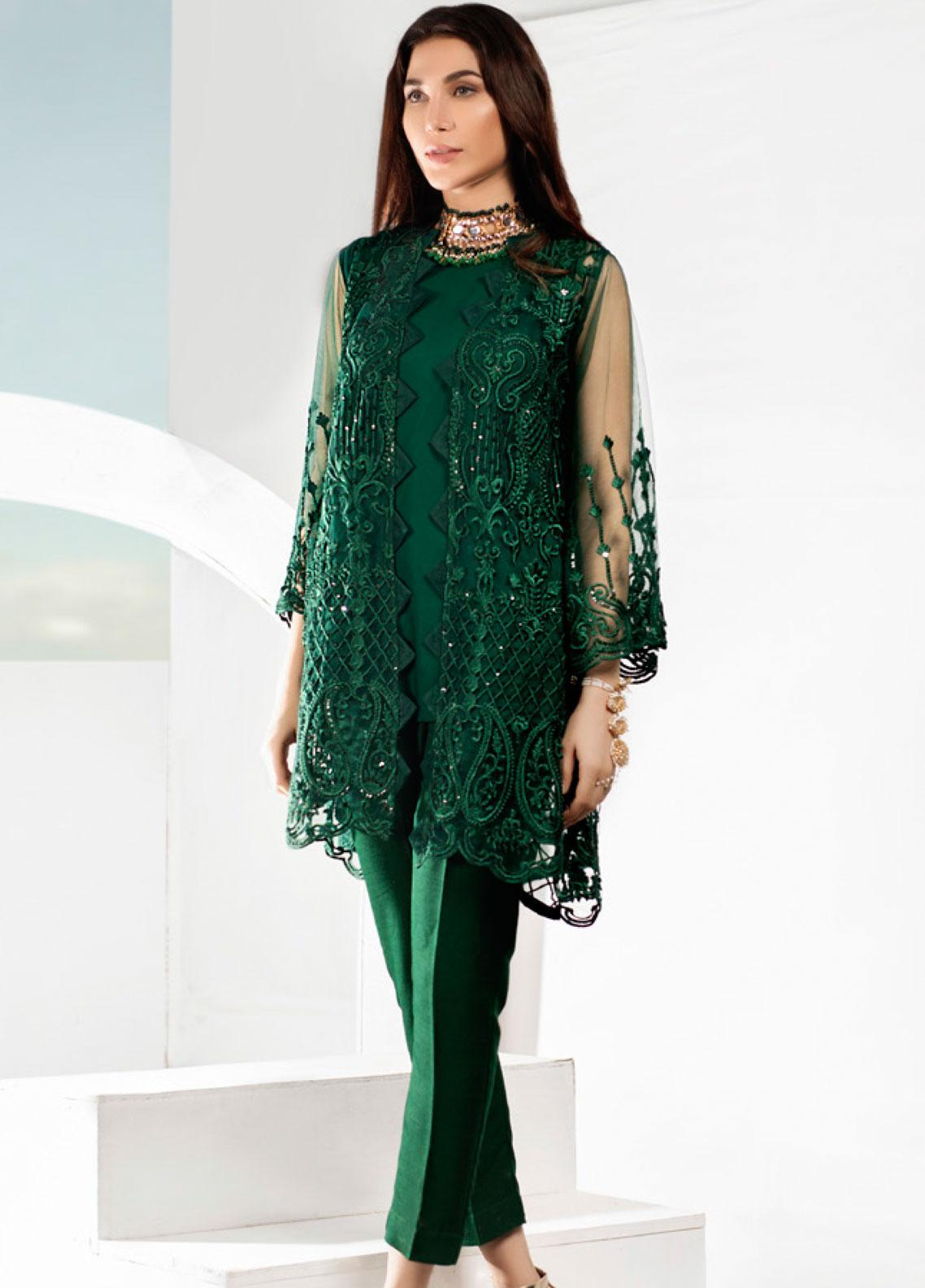 Azure Embroidered Zari Net Unstitched Kurties AZU19-E3 08 GEM AURORA - Luxury Formal Collection