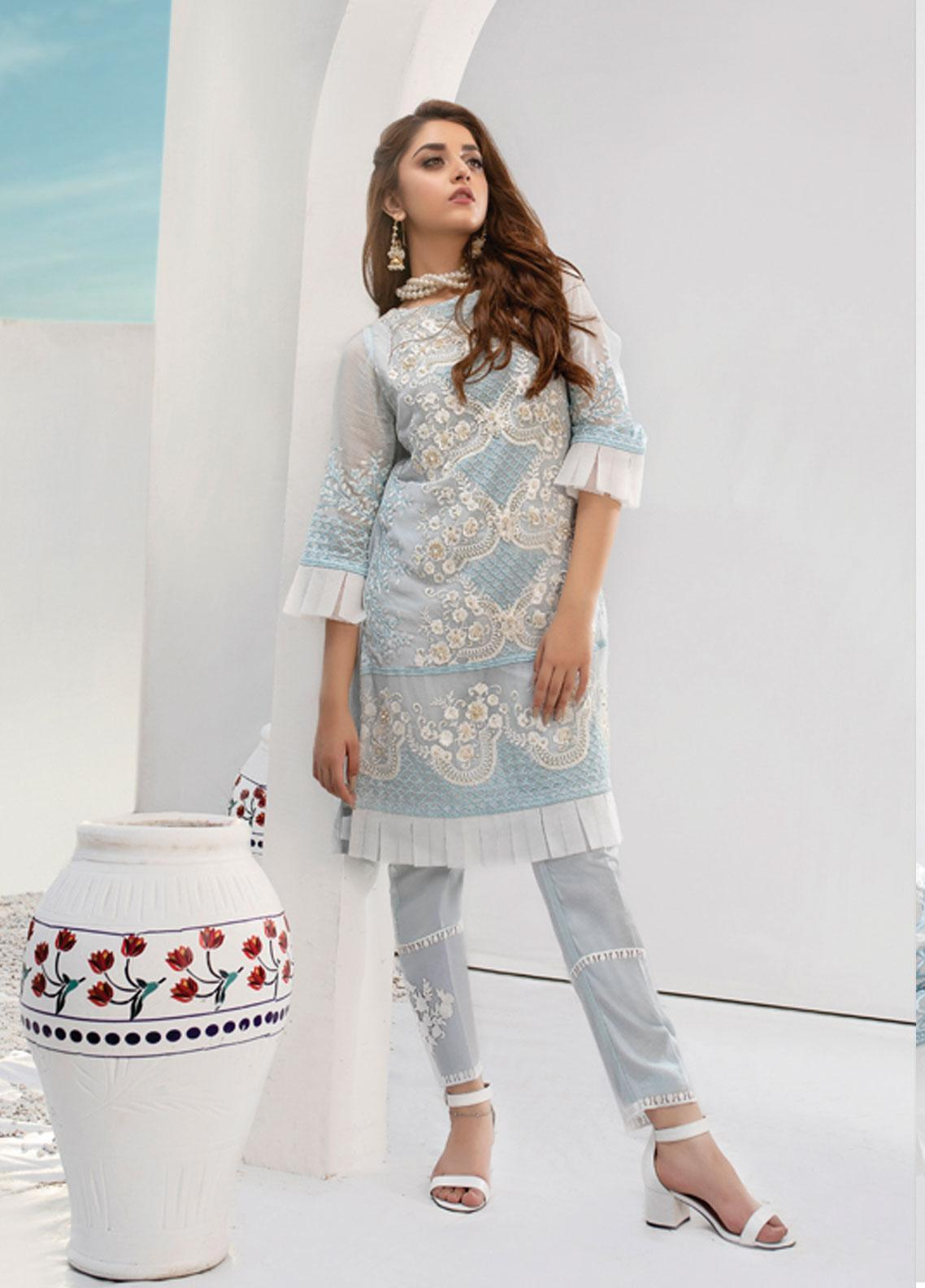 Azure Embroidered Chiffon Stitched 2 Piece Suit AZU19P 09 ARCTIC OCEAN