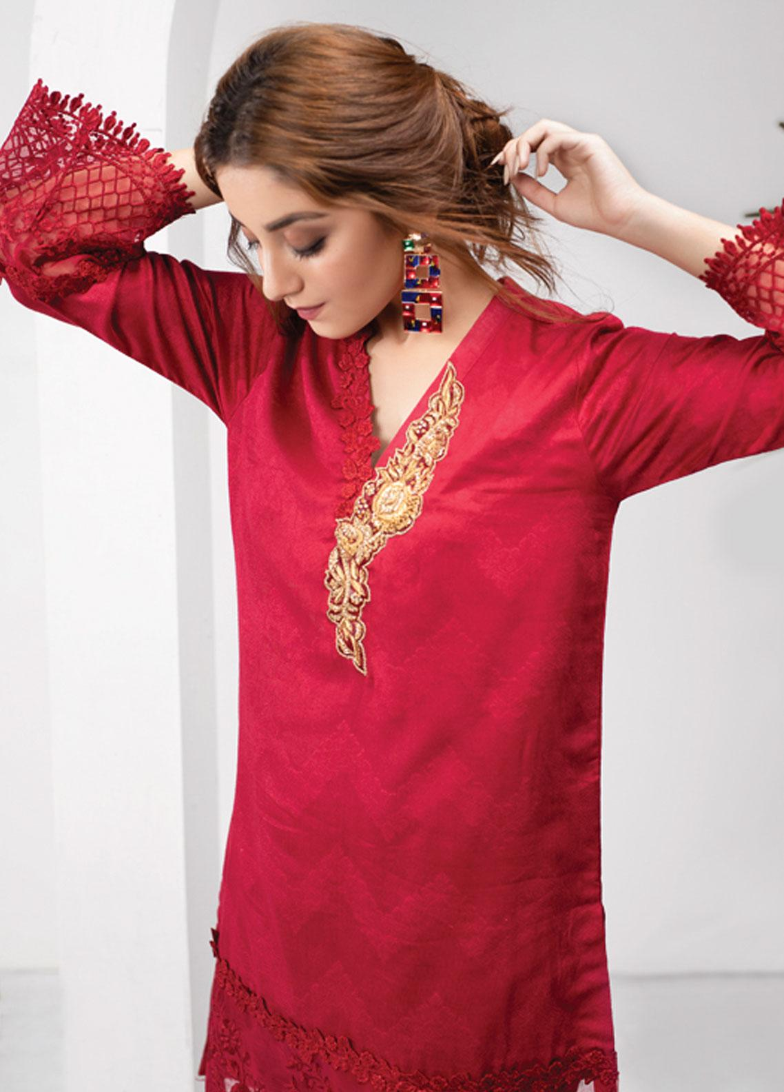Azure Embroidered Chiffon Stitched 2 Piece Suit AZU19P 04 IMPERIAL RED