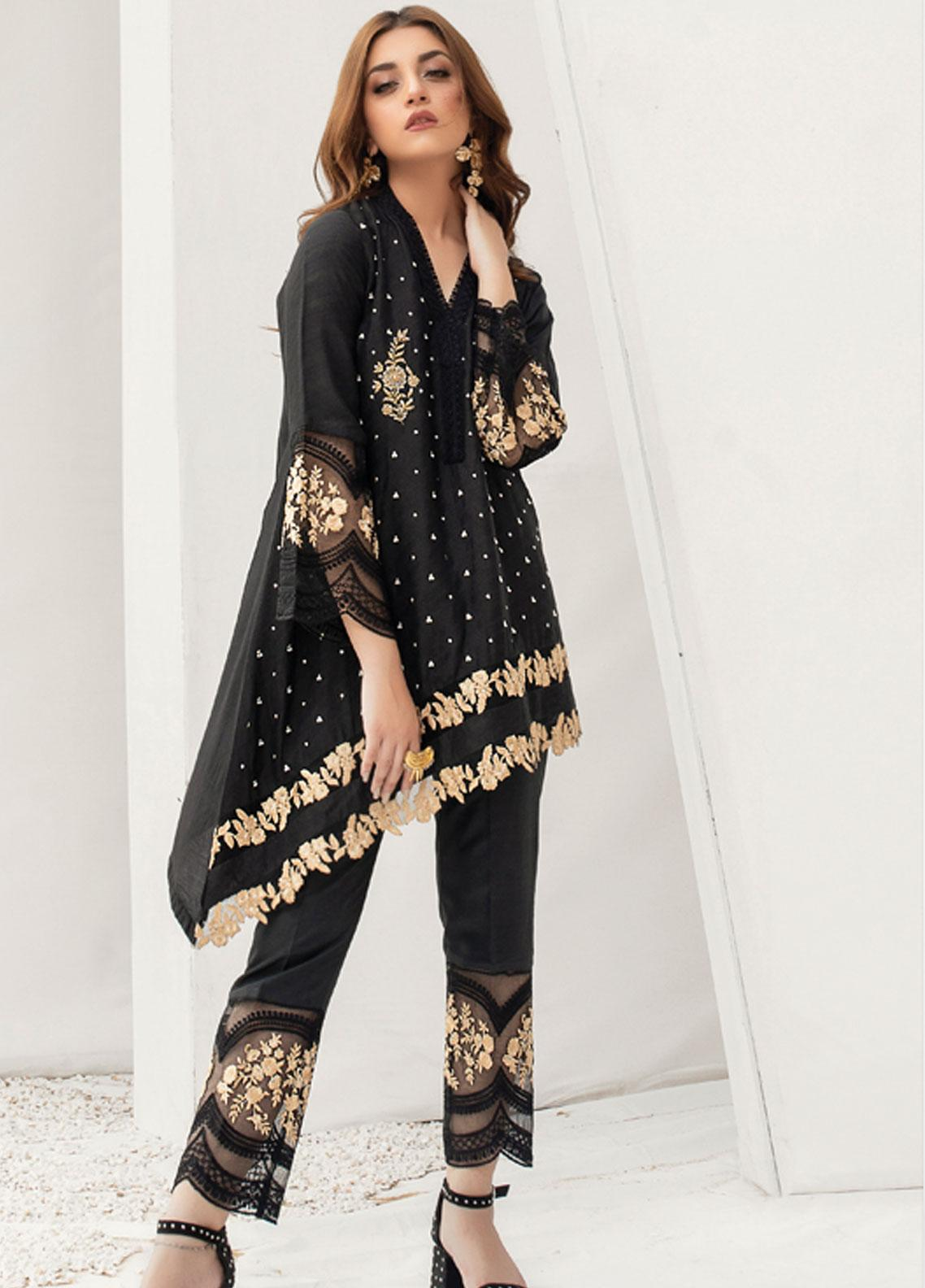 Azure Embroidered Chiffon Stitched 2 Piece Suit AZU19P 08 DUSTY SWAN