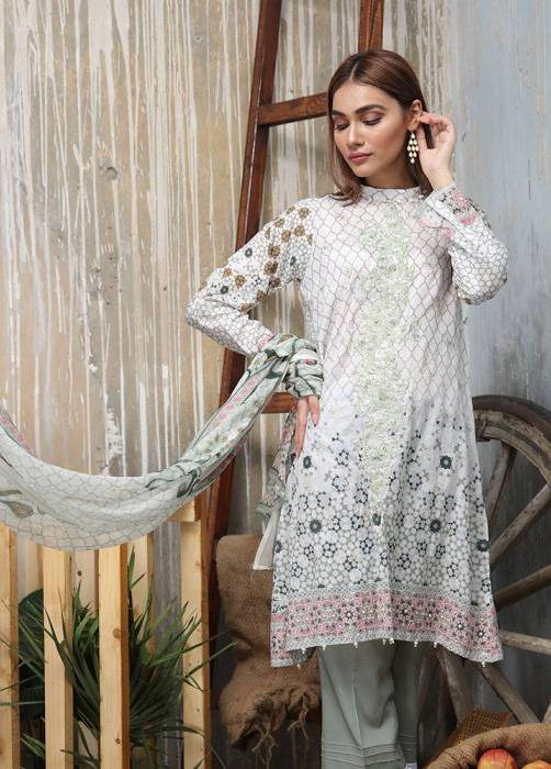 Bashir Ahmed Embroidered Lawn Unstitched 3 Piece Suit BA17E 2B