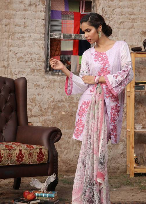 Bashir Ahmed Embroidered Lawn Unstitched 3 Piece Suit BA17E 6A