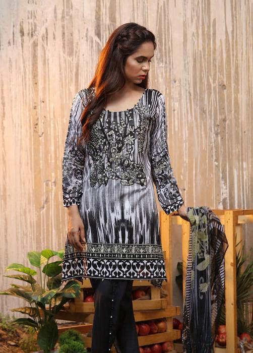 Bashir Ahmed Embroidered Lawn Unstitched 3 Piece Suit BA17E 8A