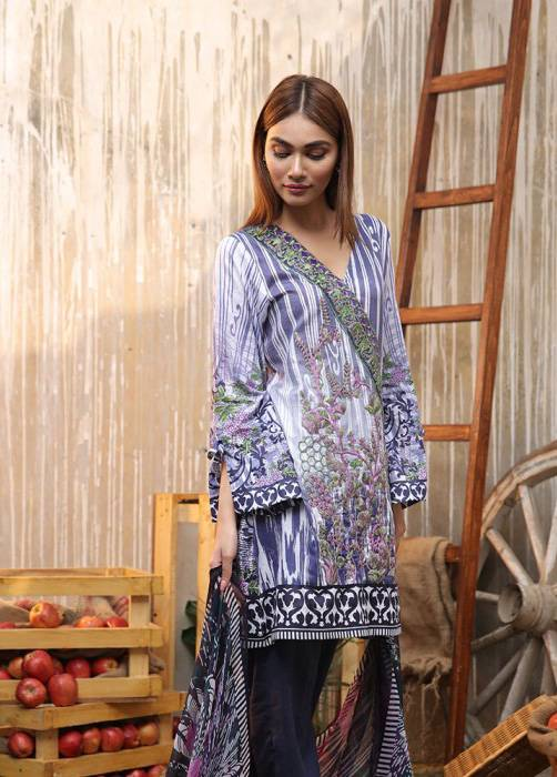 Bashir Ahmed Embroidered Lawn Unstitched 3 Piece Suit BA17E 8B