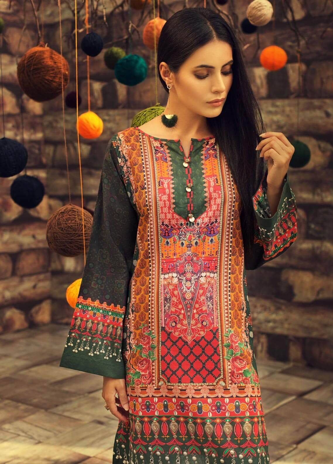LimeLight Printed Cambric Unstitched Kurties BALOCH ETRO (GREEN) - Cambric Collection