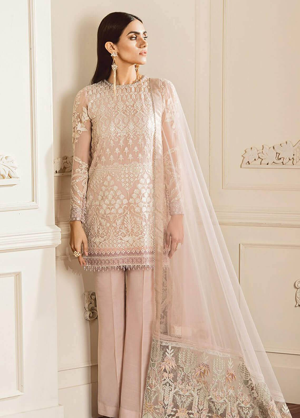 a846c62ad90e Baroque Embroidered Chiffon Unstitched 3 Piece Suit BQC-09 Dove - Luxury  Collection