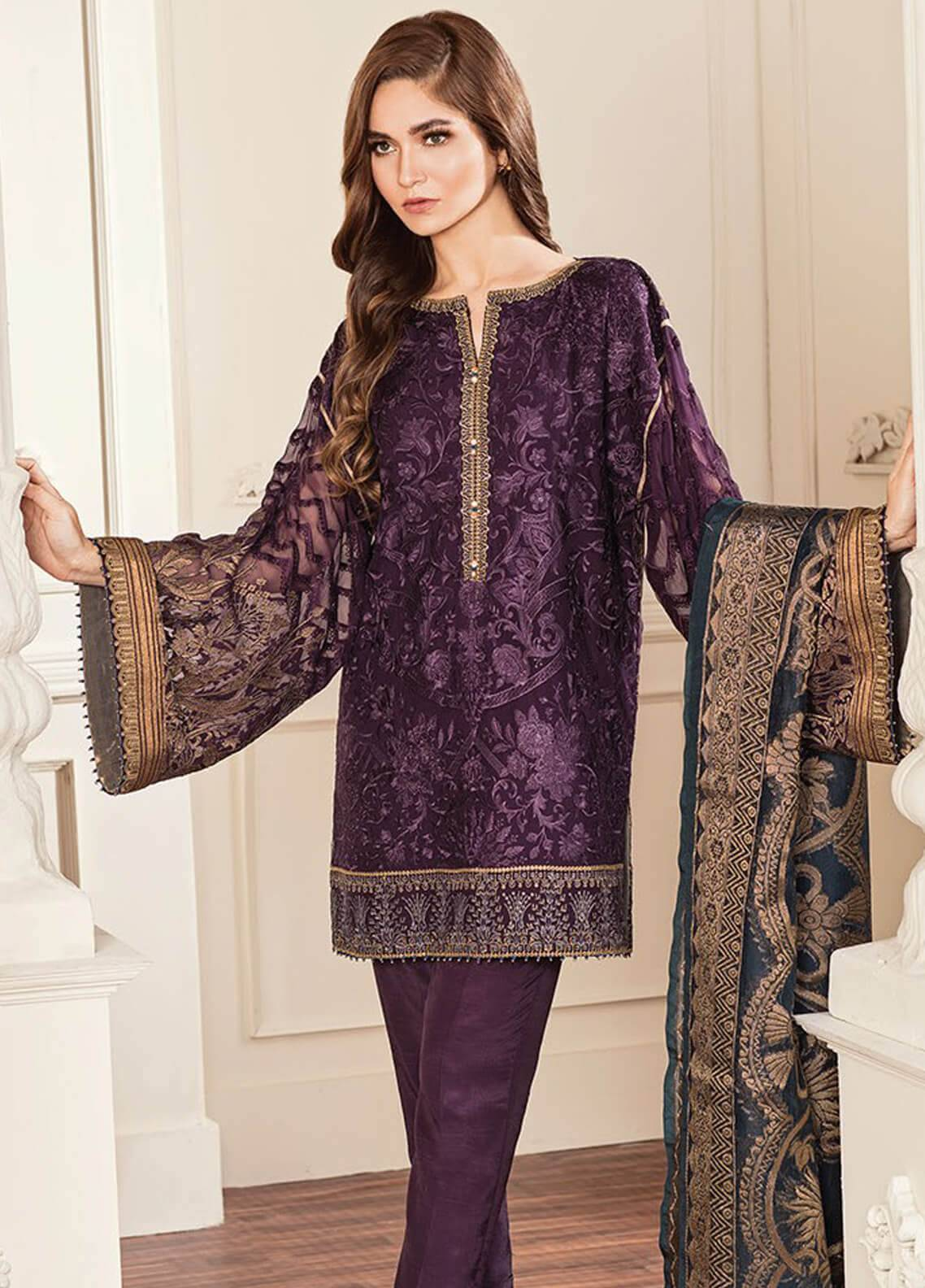6c4c7cc198 Baroque Embroidered Chiffon Unstitched 3 Piece Suit BQC-10 Amethyst -  Luxury Collection