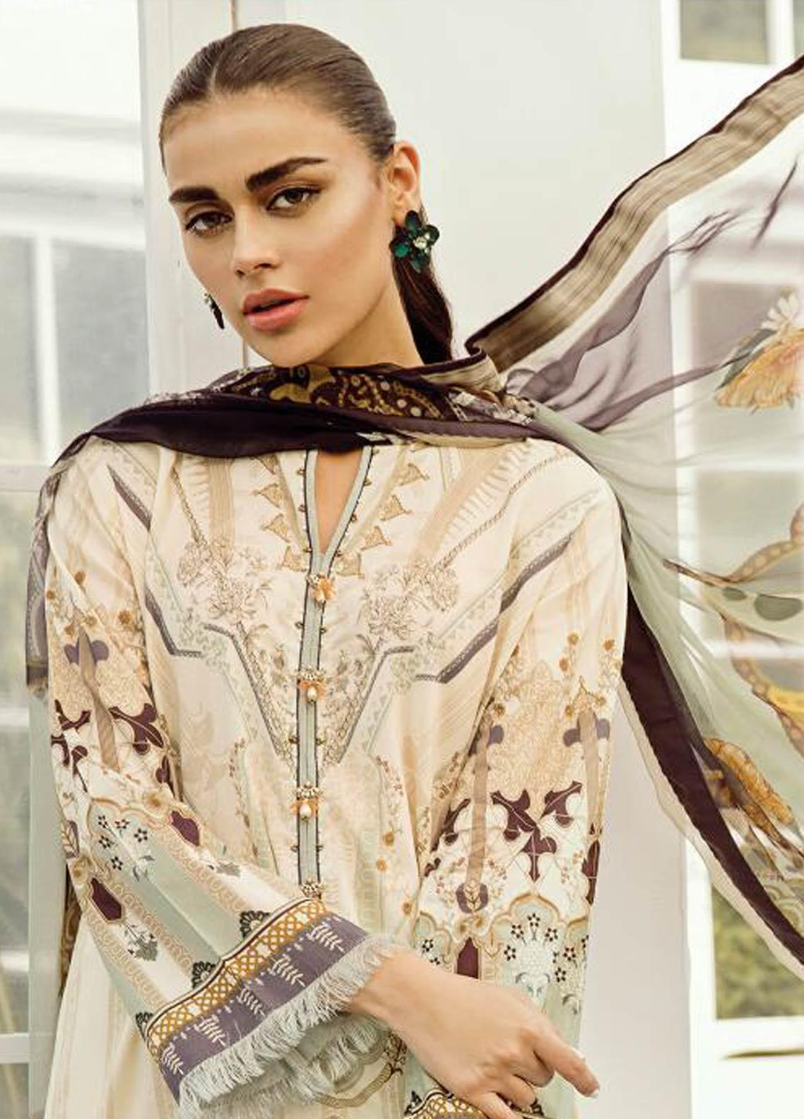 Baroque Embroidered Lawn Unstitched 3 Piece Suit FC19-L2 01 JASMINE - Mid Summer Collection