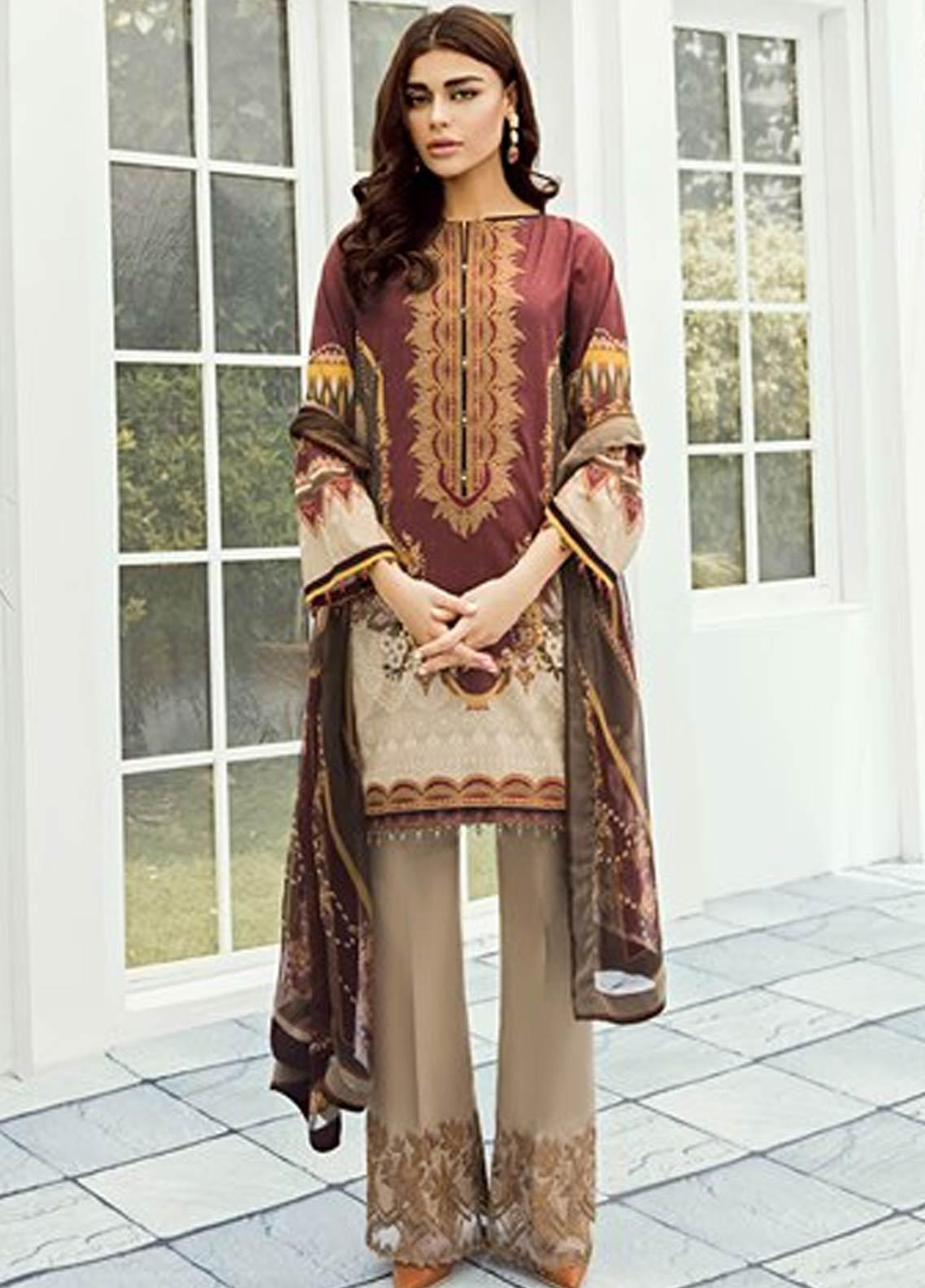 Baroque Embroidered Lawn Unstitched 3 Piece Suit FC19-L2 02 AMARYLLIS - Mid Summer Collection