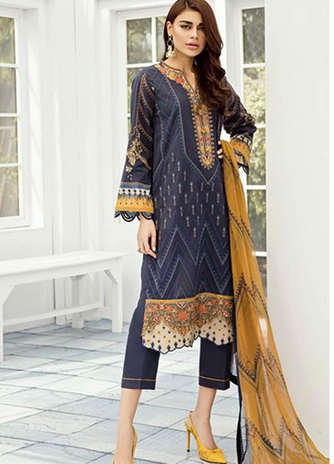 Baroque Embroidered Lawn Unstitched 3 Piece Suit FC19-L2 04 BELLEFLOWER - Mid Summer Collection