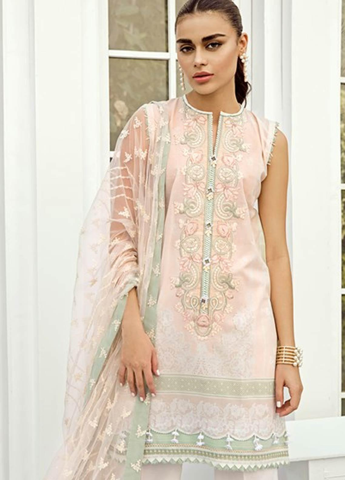Baroque Embroidered Lawn Unstitched 3 Piece Suit FC19-L2 05 PEONY - Mid Summer Collection