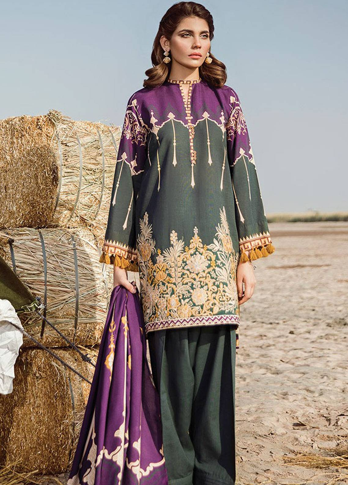 Baroque Embroidered Khaddar Unstitched 3 Piece Suit BQ18K 2 Ottoman Glory - Luxury Collection