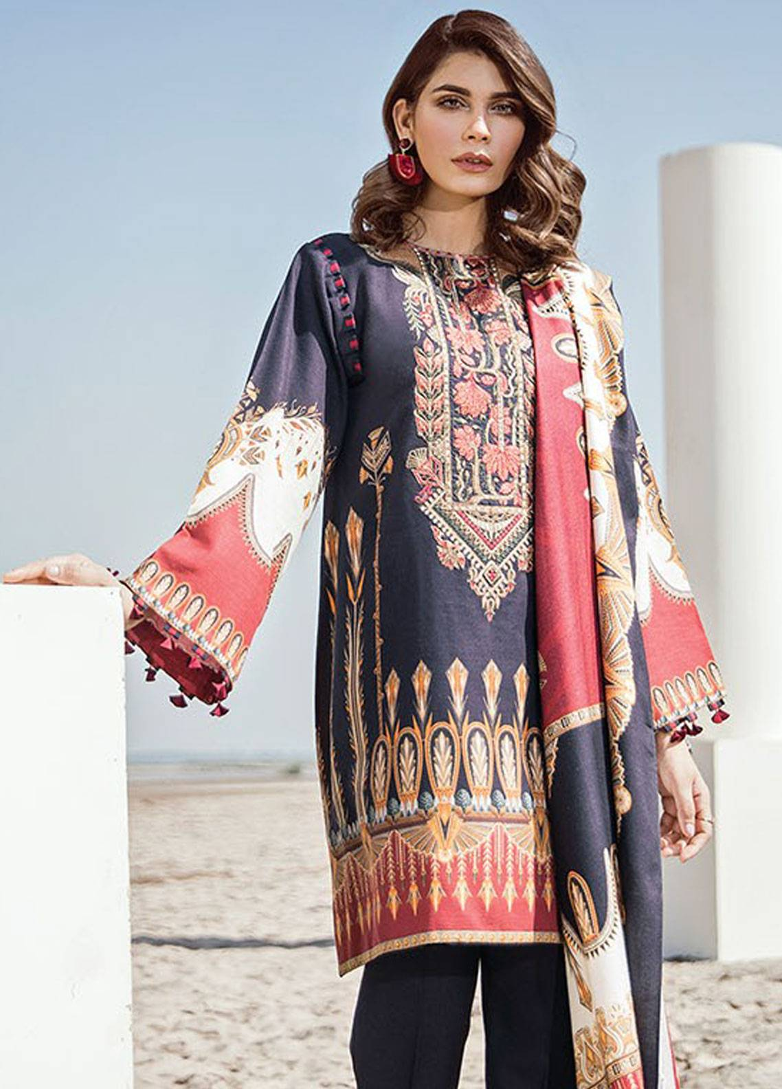 Baroque Embroidered Khaddar Unstitched 3 Piece Suit BQ18K 7 Vermillion Blue - Luxury Collection