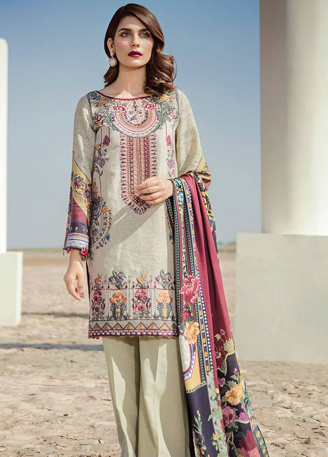 Baroque Embroidered Khaddar Unstitched 3 Piece Suit BQ18K 9 Eastern Impression - Luxury Collection