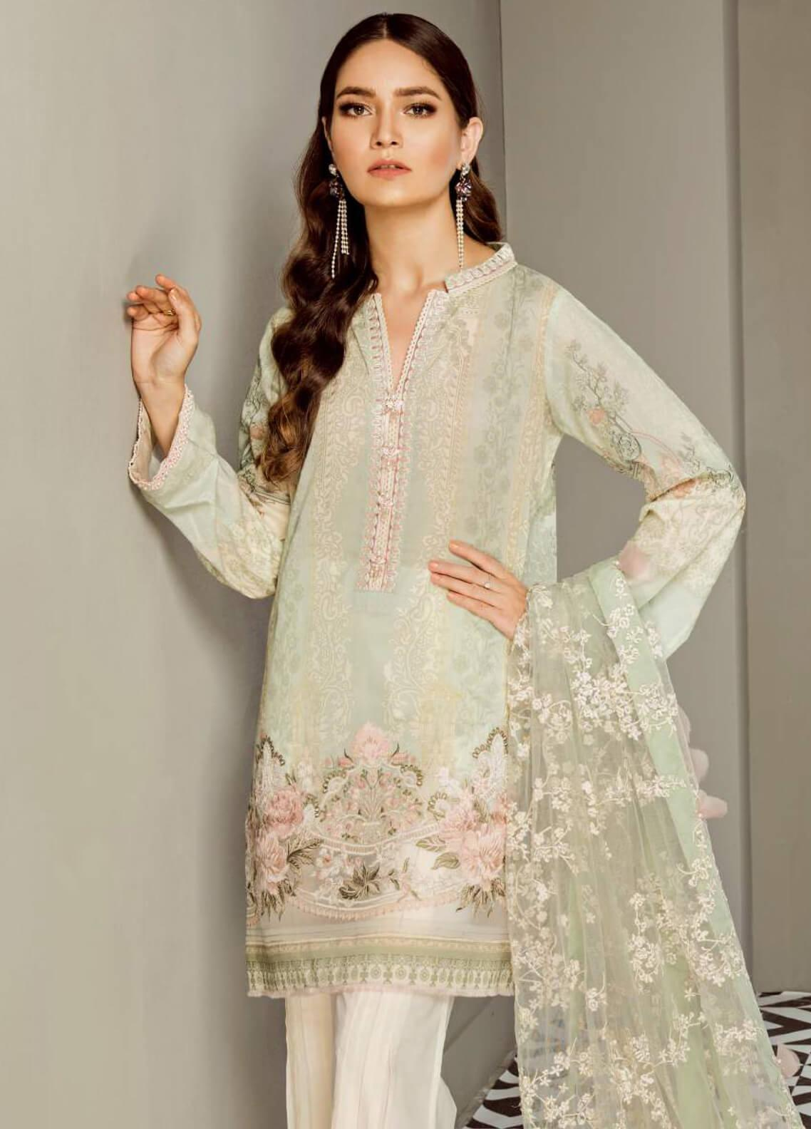 Baroque Embroidered Lawn Unstitched 3 Piece Suit BQ19E 02 ENGLISH ROSE - Eid Collection