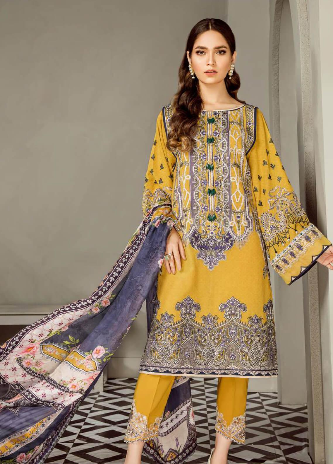 Baroque Embroidered Lawn Unstitched 3 Piece Suit BQ19E 07 CLAIR - Eid Collection