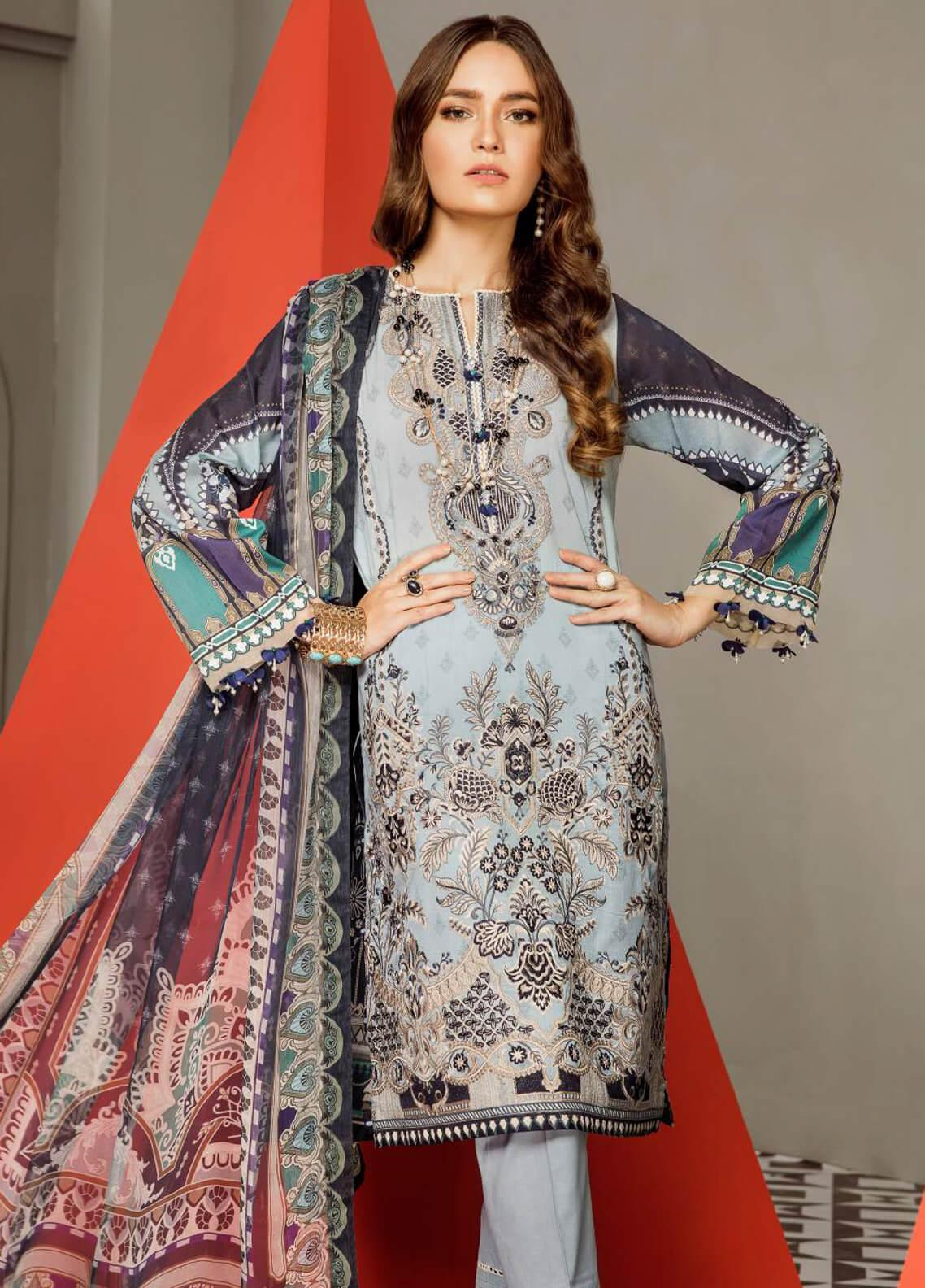 201ea8adb1 Baroque Embroidered Lawn Unstitched 3 Piece Suit BQ19E 09 AZORA - Eid  Collection