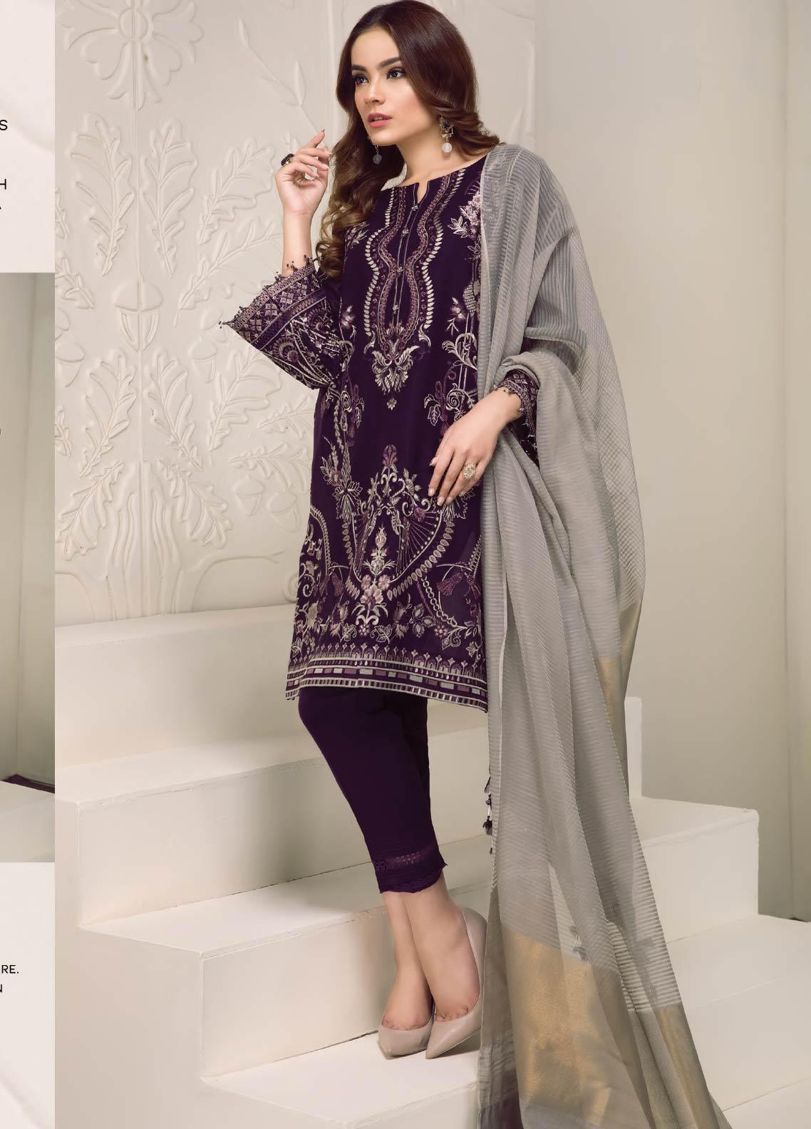 Baroque Embroidered Lawn Unstitched 3 Piece Suit BQ19-S2 10 VALERIA - Mid Summer Collection