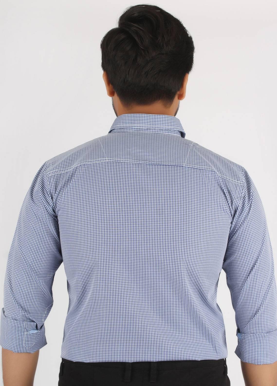 Bien Habille Cotton Casual Men Shirts - Blue Design 3