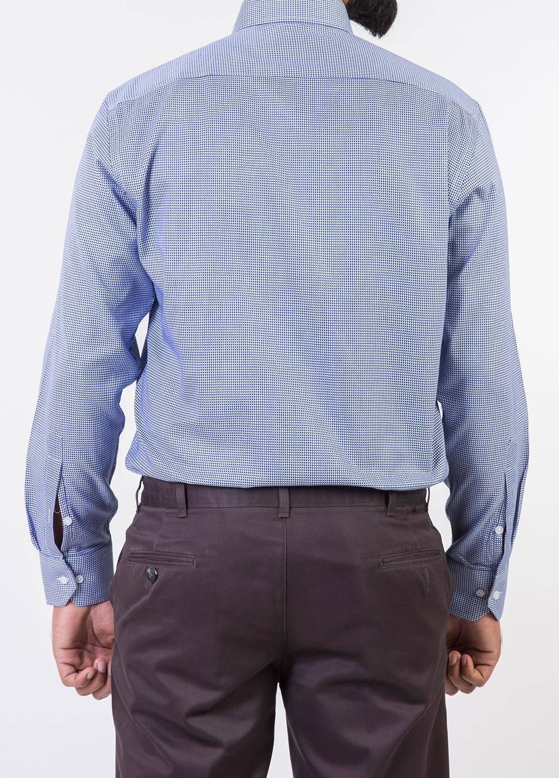 Bien Habille Cotton Formal Men Shirts -   White & Dark Blue Checks