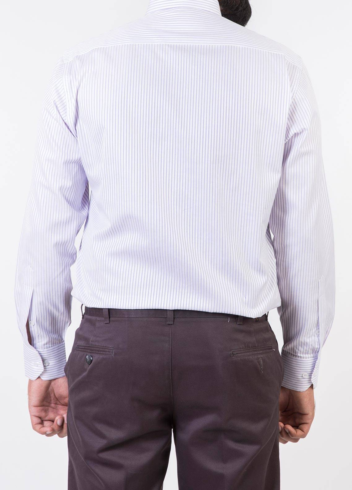 Bien Habille Cotton Formal Shirts for Men -   White Base Purple Lining