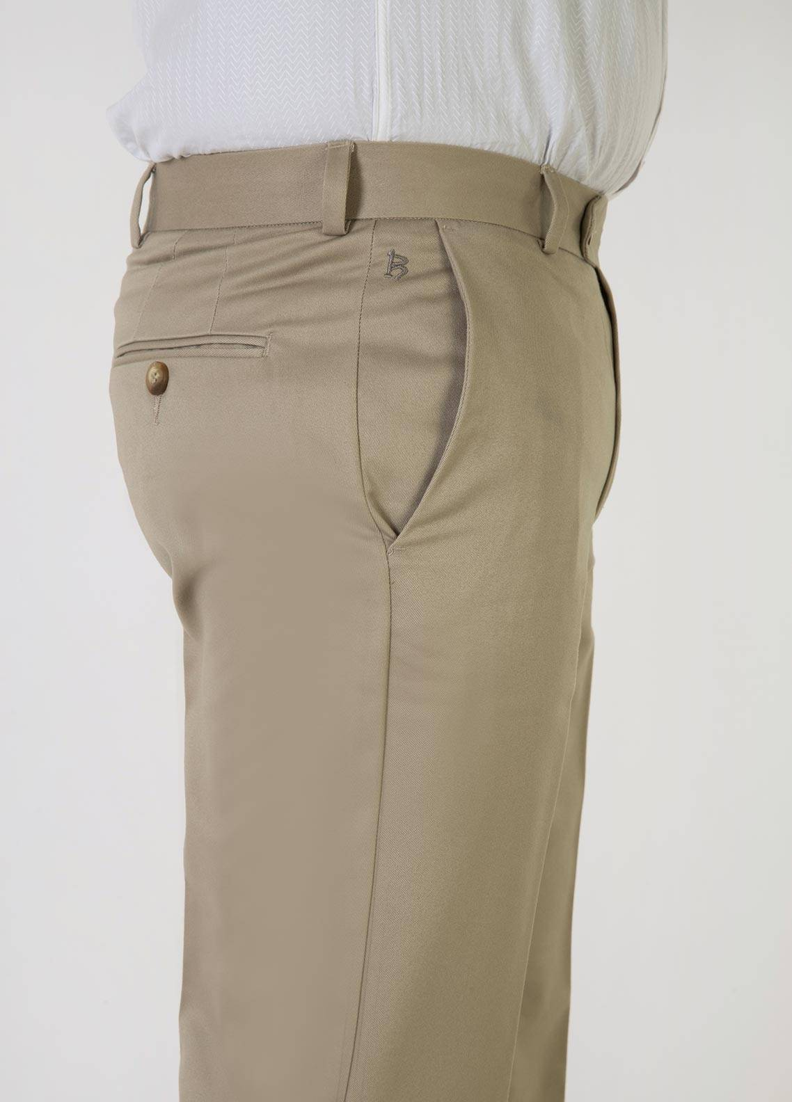 Bien Habille Cotton No-Iron Men Trouser -  Smart Fit American Khaki