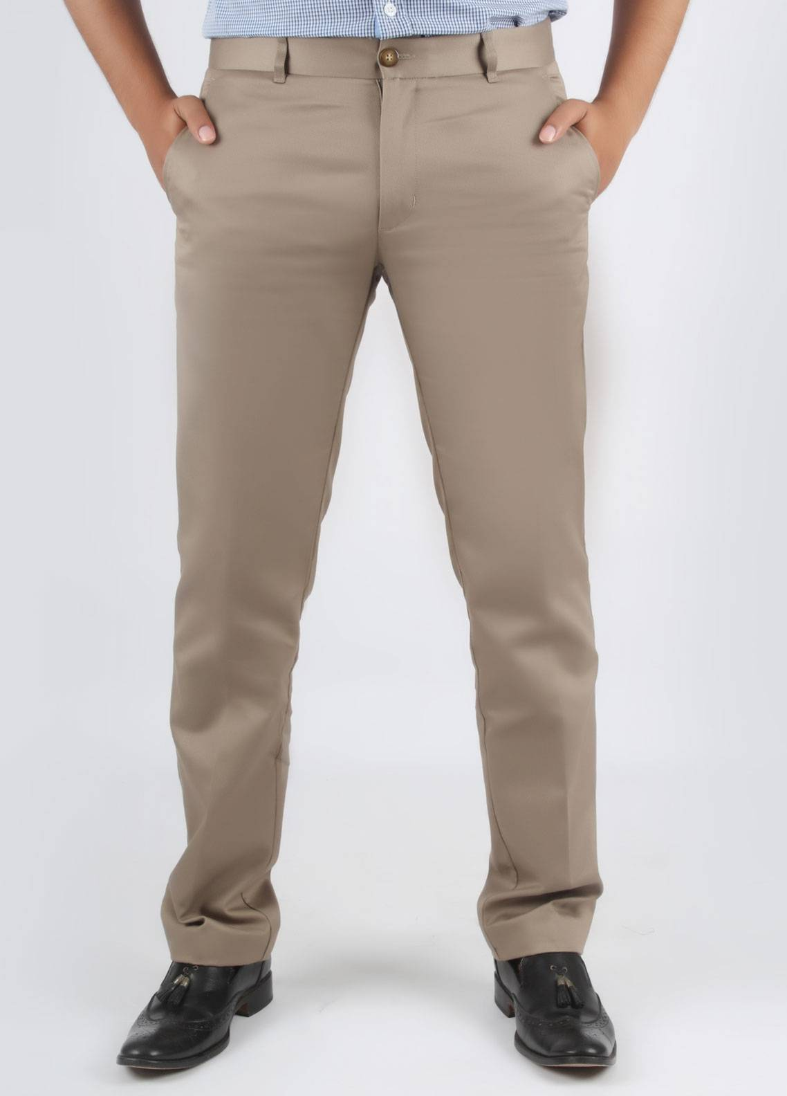 Bien Habille Cotton No-Iron Trouser for Men -  Smart Fit Plaza Taupe Grey