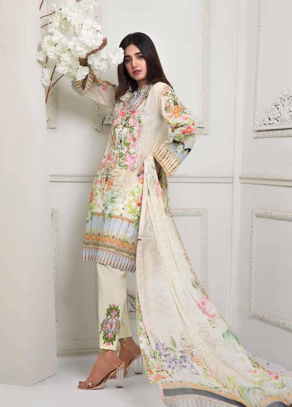 Bin Ahmad Embroidered Lawn Unstitched 3 Piece Suit BA19F 04 - Festive Collection