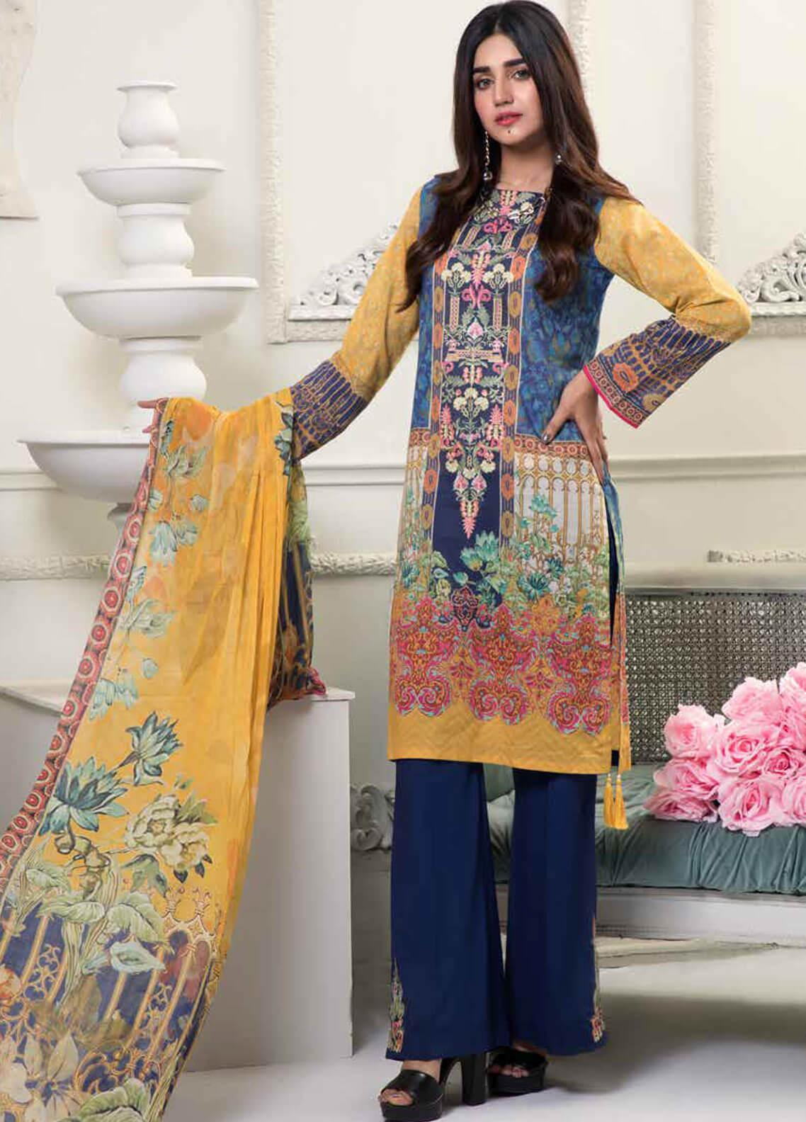 Bin Ahmad Embroidered Lawn Unstitched 3 Piece Suit BA19F 05 - Festive Collection