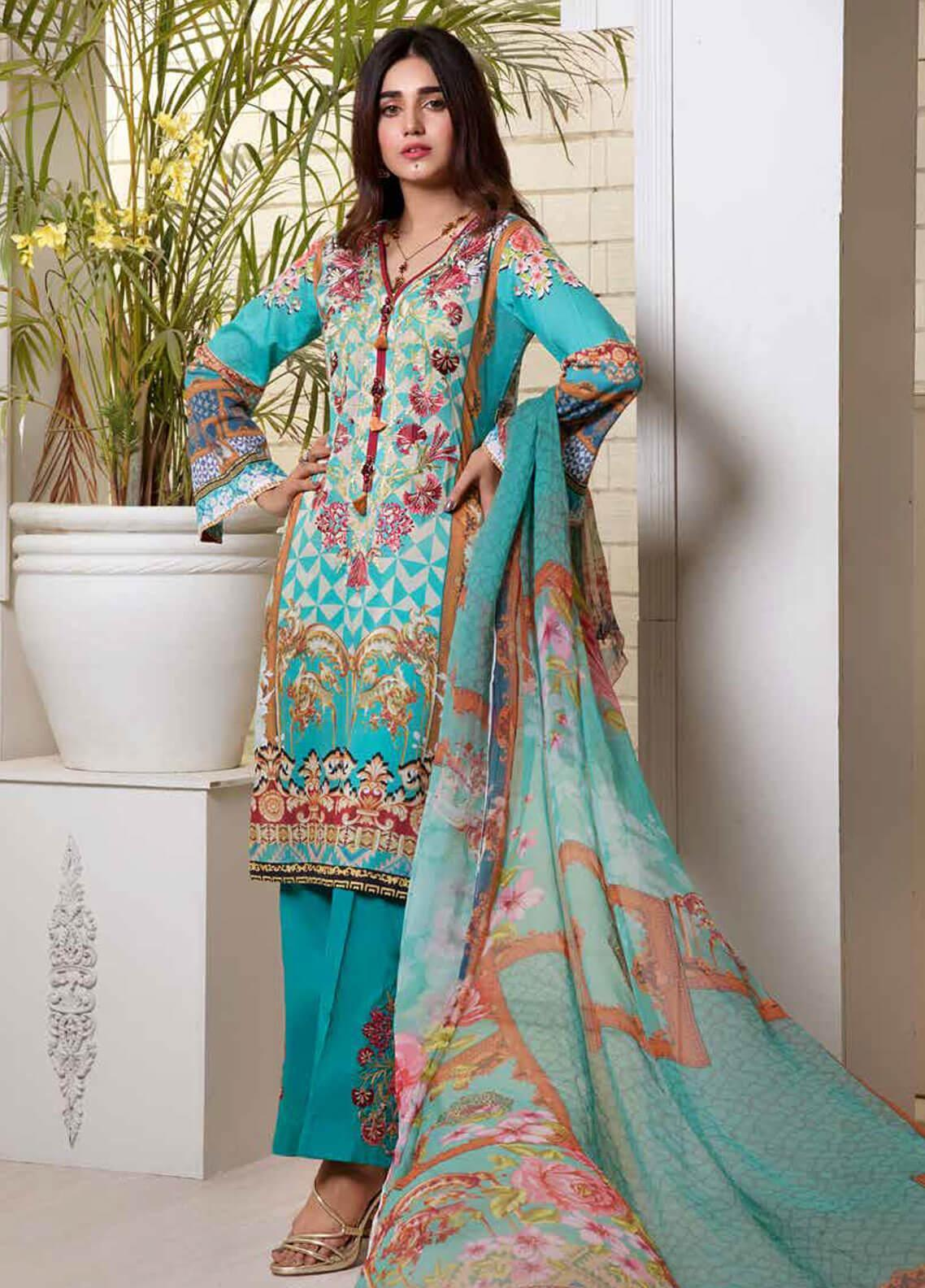 Bin Ahmad Embroidered Lawn Unstitched 3 Piece Suit BA19F 06 - Festive Collection