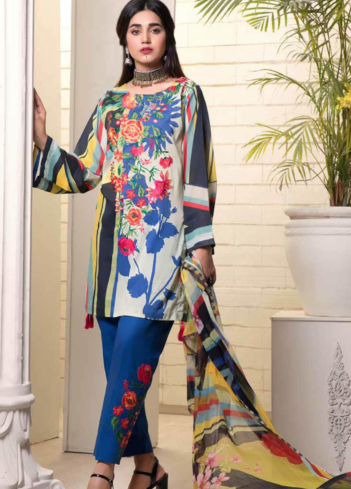 Bin Ahmad Embroidered Lawn Unstitched 3 Piece Suit BA19F 09 - Festive Collection