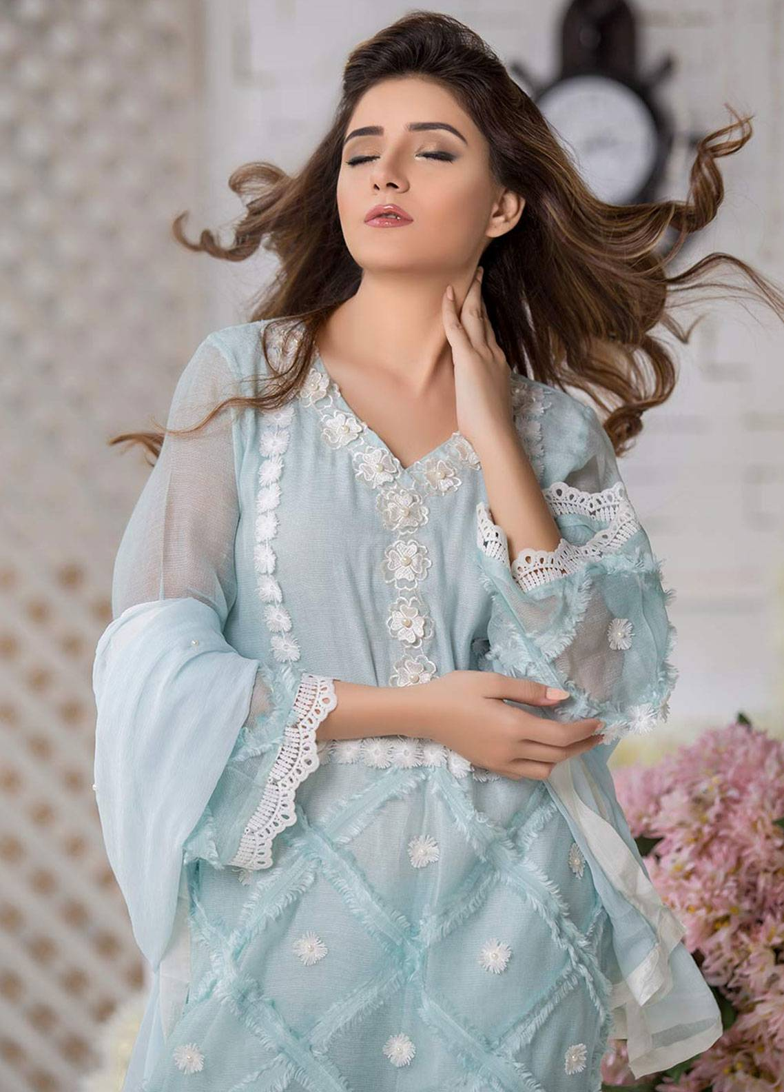 Chic Ophicial Embroidered  Stitched 3 Piece Suit BLUE BREEZE