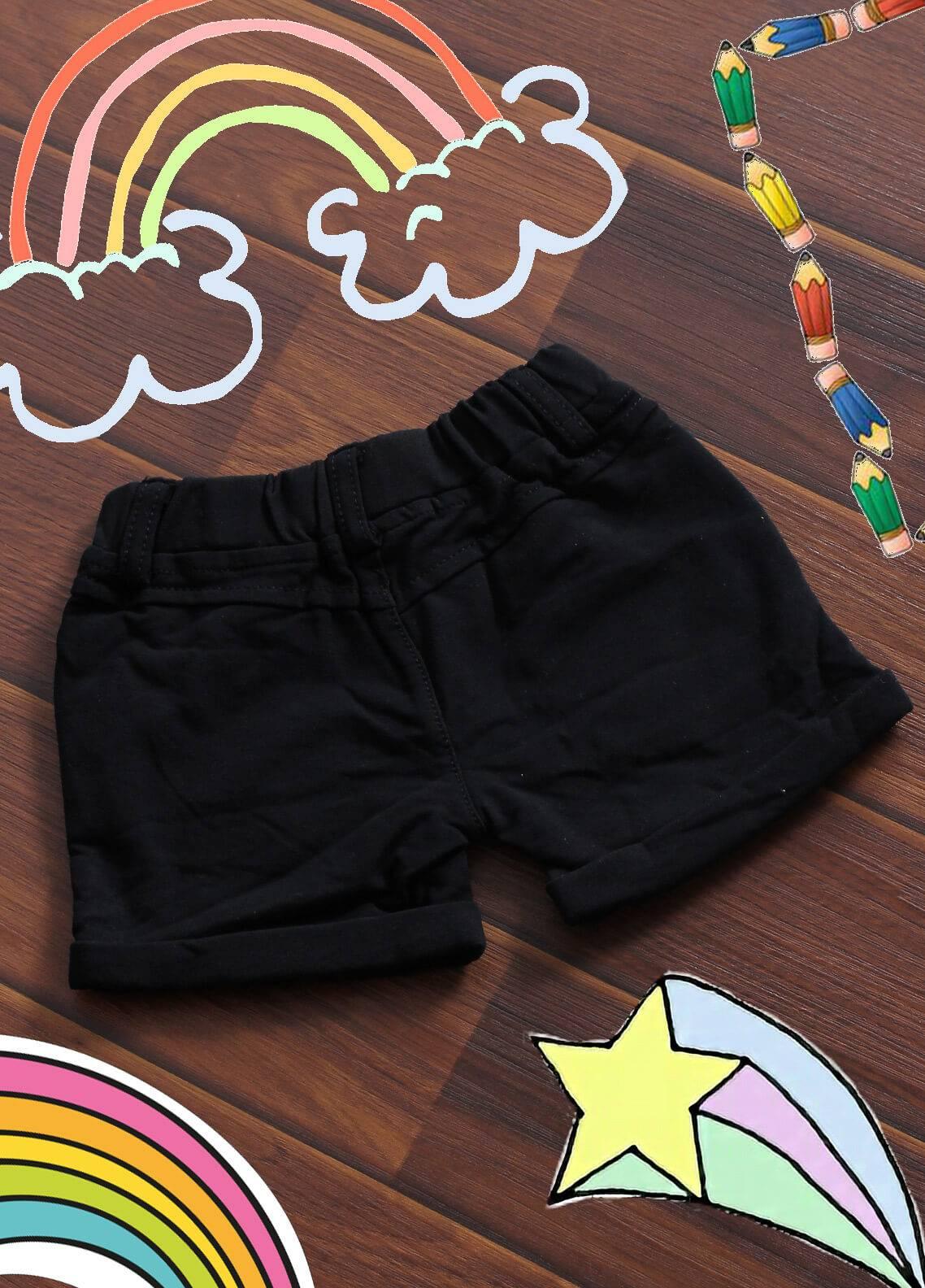 Sanaulla Exclusive Range Denim Casual Shorts for Boys -  19020 Black