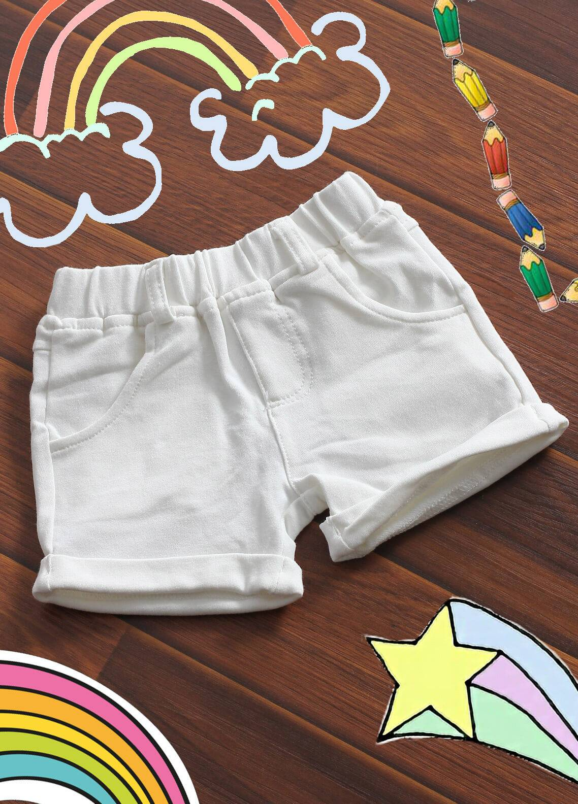 Sanaulla Exclusive Range Denim Casual Boys Shorts -  19020 White