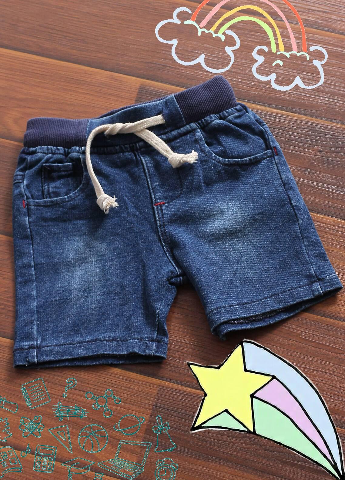 Sanaulla Exclusive Range Denim Casual Shorts for Boys -  1910 Navy Blue