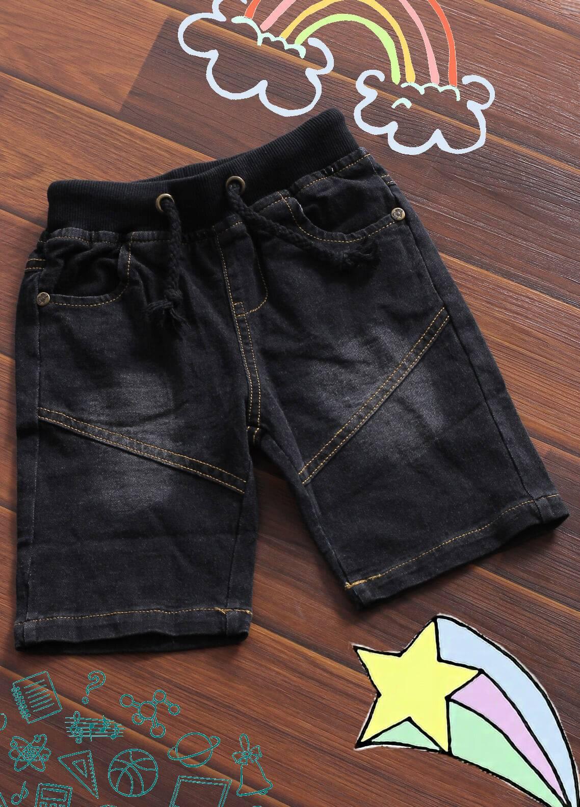 Sanaulla Exclusive Range Denim Casual Boys Shorts -  6063 Black