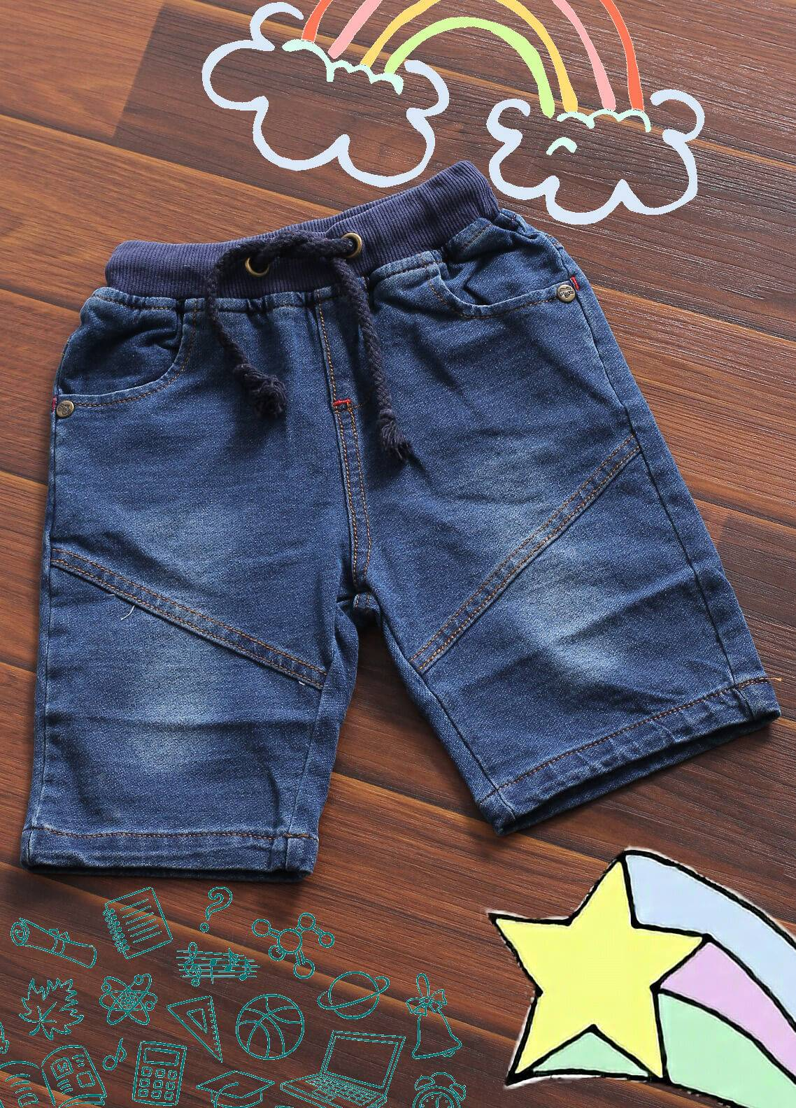 Sanaulla Exclusive Range Denim Casual Shorts for Boys -  6063 Blue
