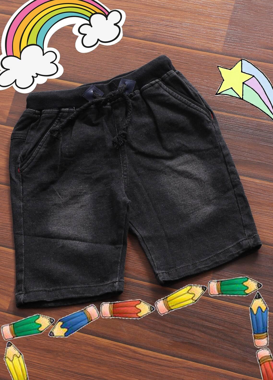 Sanaulla Exclusive Range Denim Casual Shorts for Boys -  6070 Black