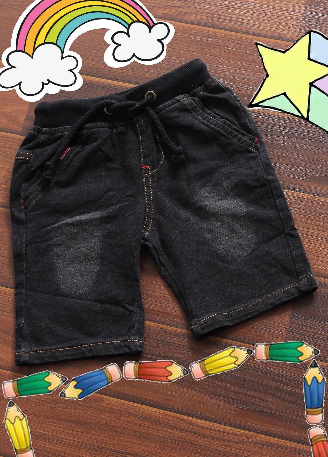Sanaulla Exclusive Range Denim Casual Boys Shorts -  6072 Black