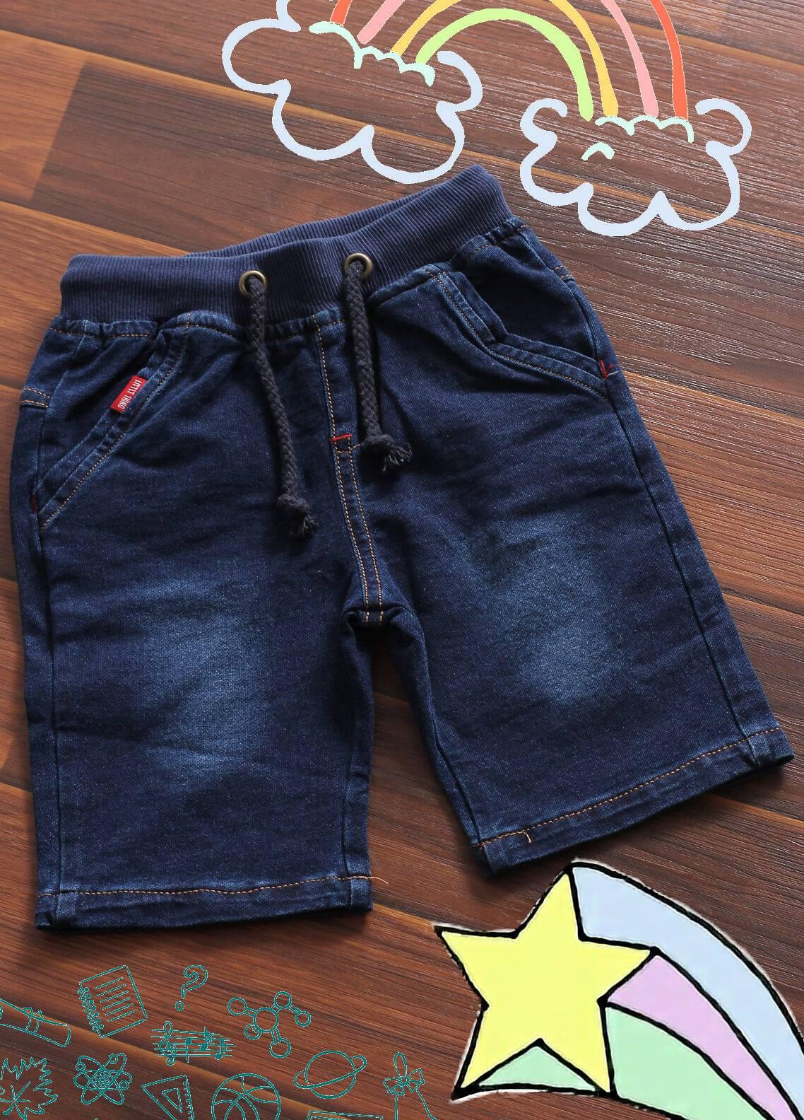 Sanaulla Exclusive Range Denim Casual Shorts for Boys -  6072 Blue