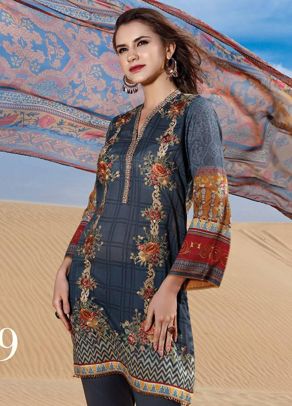 e4789bb9da52b Fuchsia Baroque Embroidered Lawn Unstitched 3 Piece Suit BQ18-L2 09 -  Summer Collection